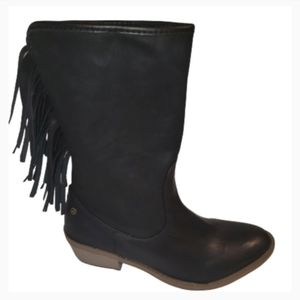 Groove Black Faux Leather Fringe Boots 7.5 NEW